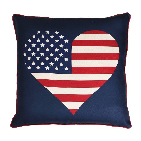 """Dcor Therapy 20""""x20"""" Heart Flag Reversible Plaid Printed Faux Linen Throw Pillow Blue - image 1 of 4"""