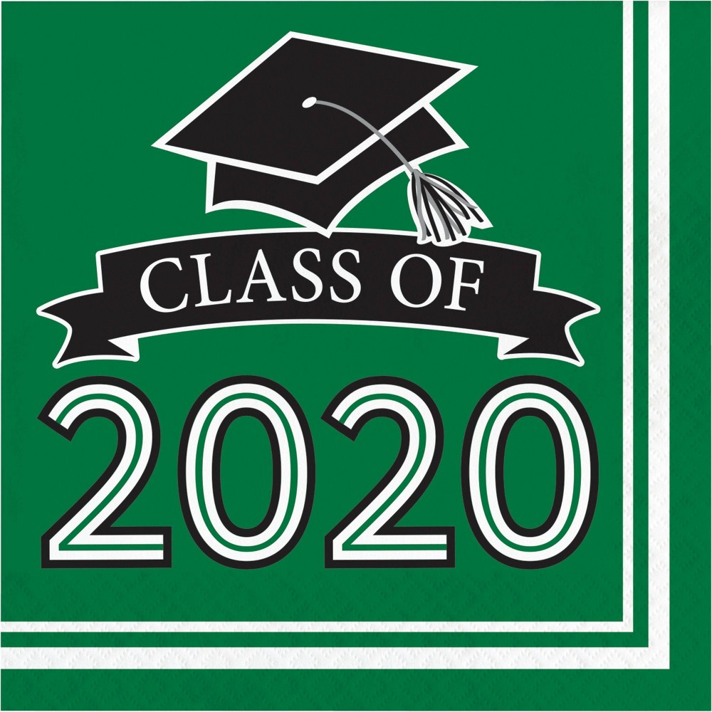 Image of 108ct Class Of 2020 Grad Napkins Green