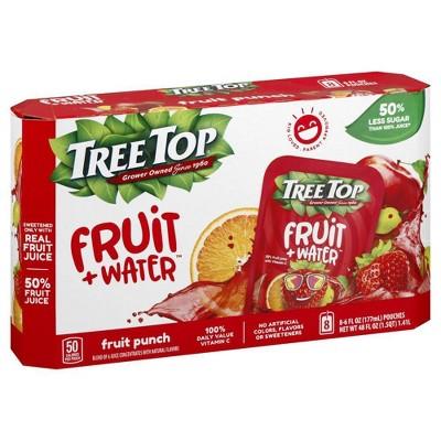 Tree Top Fruit + Water Fruit Punch - 8pk/6 fl oz Pouches