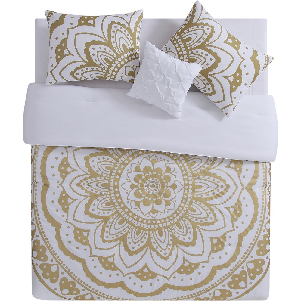 3pc Twin Extra Long Karma Comforter Set Gold - Vcny Home