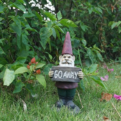 """9"""" Polyresin Gnome Holding Go Away Sign Outdoor Statue Red - Hi-Line Gift"""