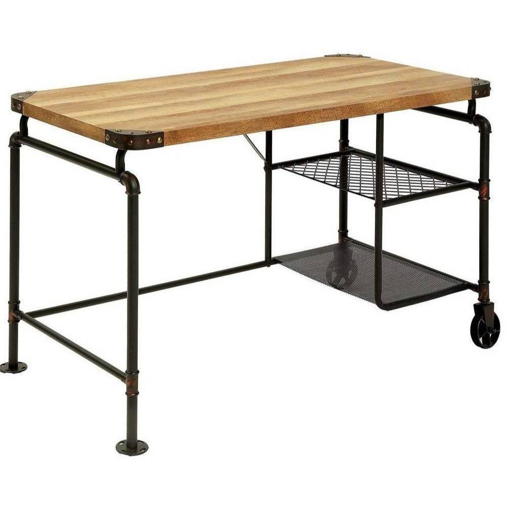 Industrial Metal Writing Desk Antique Wood - Benzara