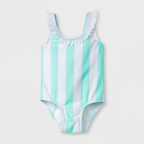Sugar Coast by Lolli Toddler Girls' One Piece Swimsuit with  Stripes - Green/White - image 1 of 2