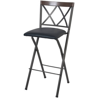 "29"" Folding Metal Barstool Gunmetal - Cheyenne Products"
