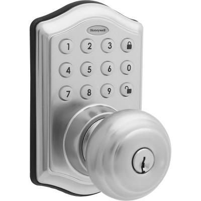 Honeywell Electronic Entry Knob Door Lock- Satin Nickel