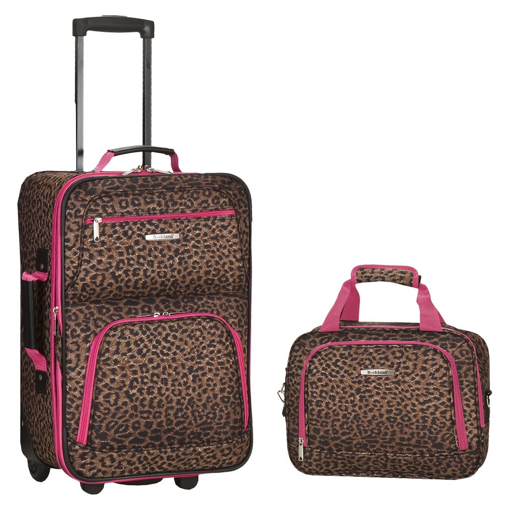 Rockland Rio 2pc Carry On Luggage Set Pink Leopard