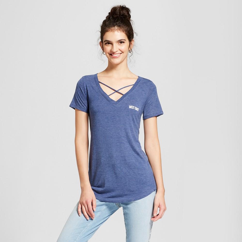 Women's West Coast Short Sleeve Cross Front Drapey Graphic T-Shirt - Awake Navy M, Blue