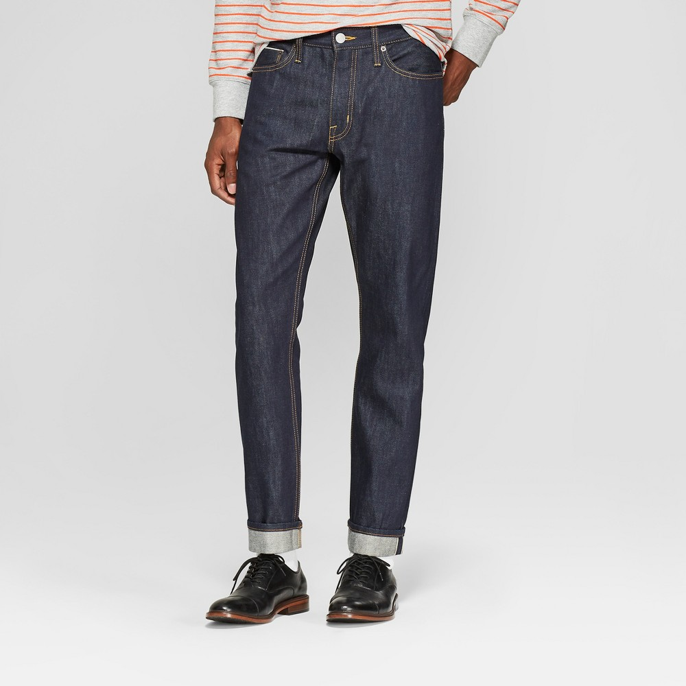 Men's Slim Fit Selvedge Denim - Goodfellow & Co Dark Rinse 38x34, Blue