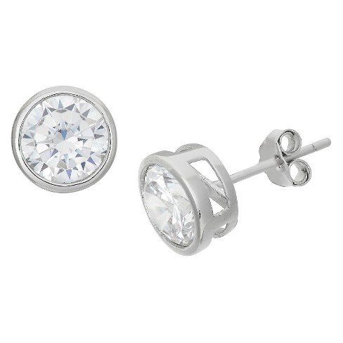 0c9405db0fafb6 7mm Bezel Set Cubic Zirconia Stud Earrings In Sterling Silver : Target