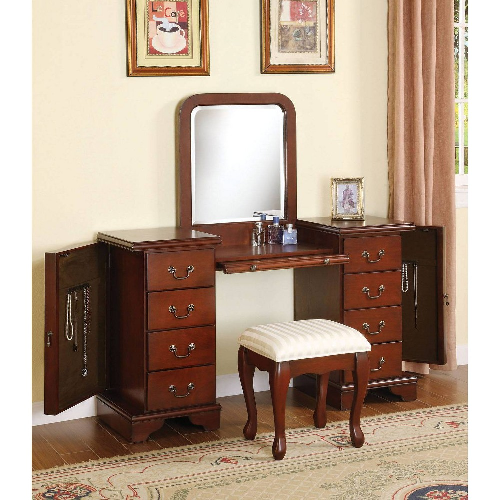 Louis Philippe Vanity Desk and Stool Brown - Acme