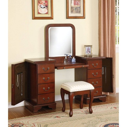 Louis Philippe Vanity Desk and Stool Brown - Acme - image 1 of 1