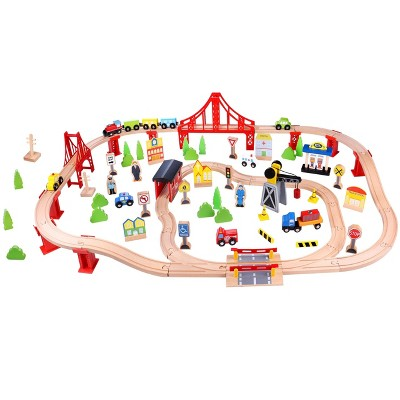 Fat Brain Toys Wooden Express 100 Piece Train Set FB259-1