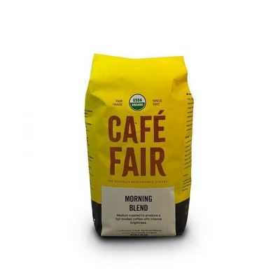 Cafe Fair Morning Blend Organic Shade Grown Medium Roast Whole Bean Coffee - 12oz