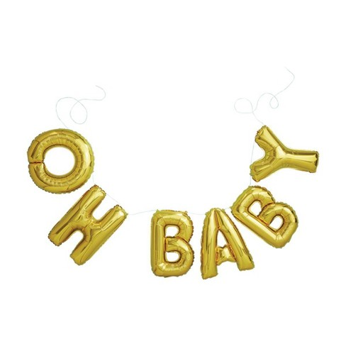Gold Foil Phrase Balloons Oh Baby - Spritz™ - image 1 of 3