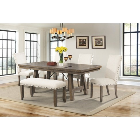 Dex 6pc Dining Set Table, 4 Upholster Side Chairs And Bench Walnut Brown/ Cream - Picket House Furnishings - image 1 of 4