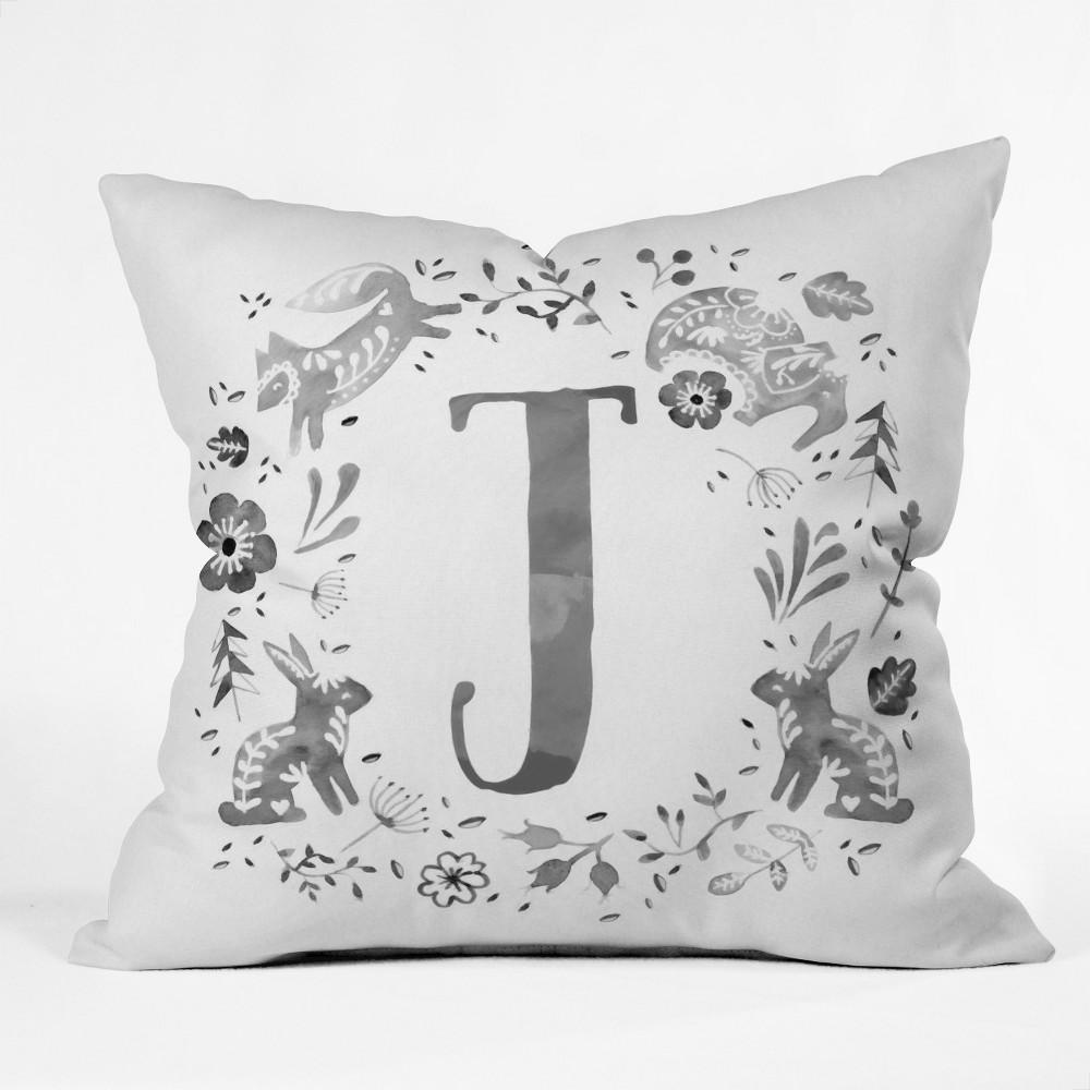 20x20 Wonder Forest Folky Forest Alphabet J Throw Pillow Gray - Deny Designs