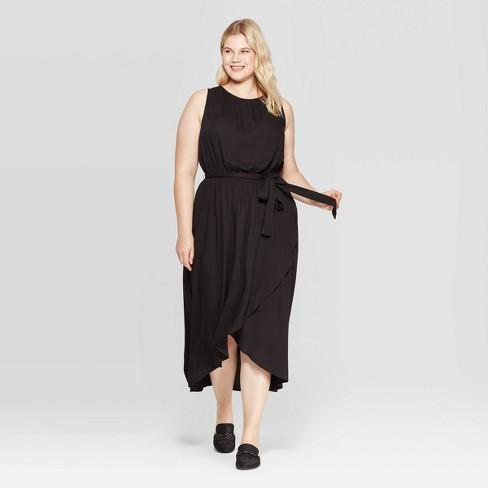 Women\'s Plus Size Sleeveless Crewneck Wrap Skirt Maxi Dress - Ava & Viv™  Black 1X