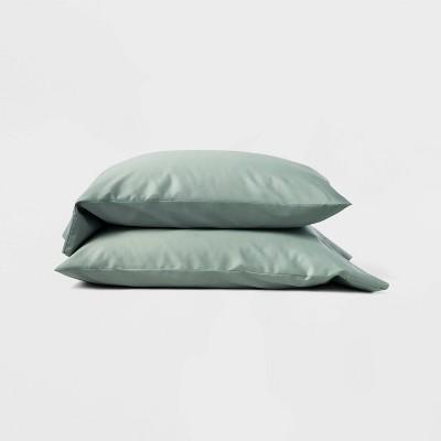 Standard 300 Thread Count Temperature Regulating Solid Pillowcase Set Sage Green - Casaluna™