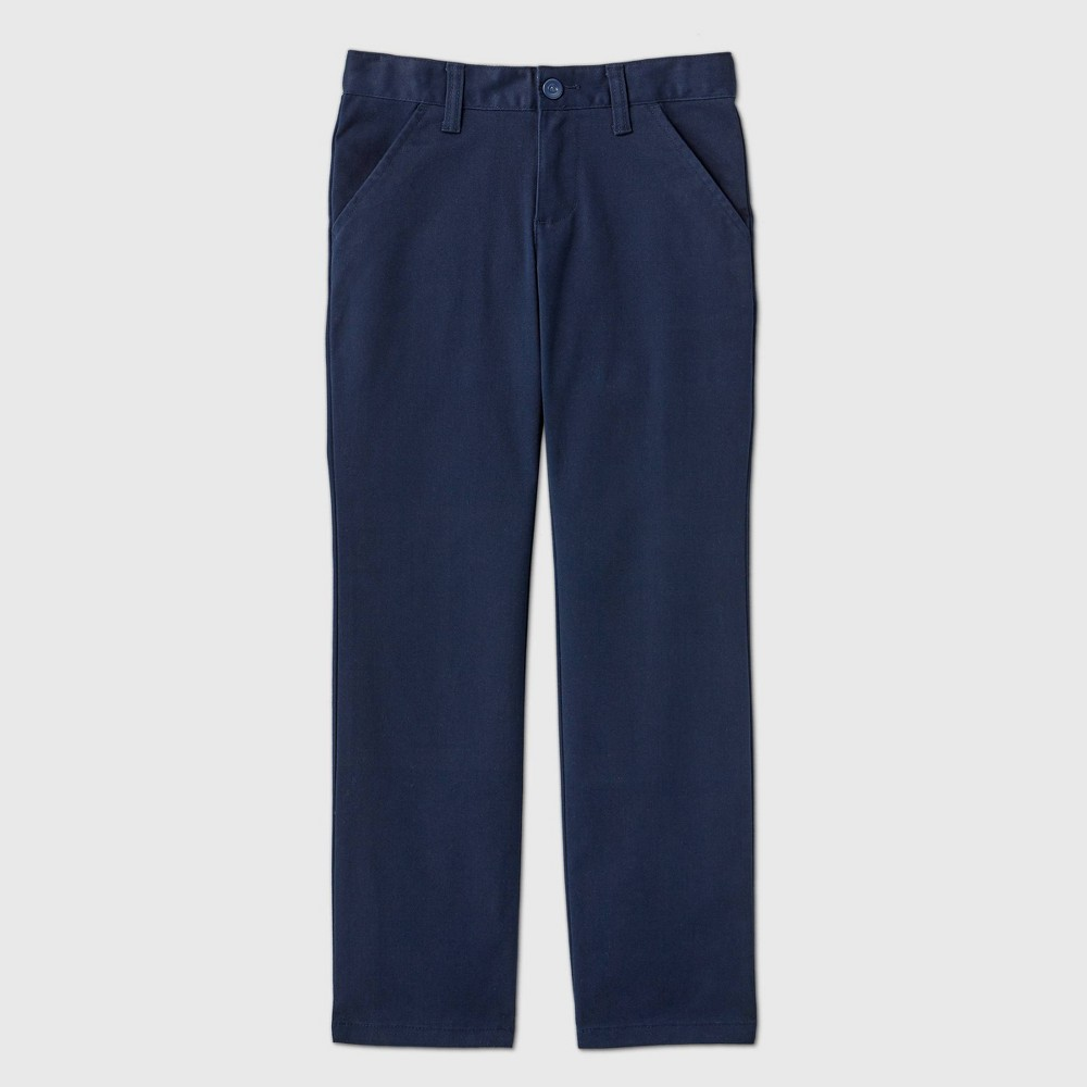 Girls 39 Flat Front Stretch Uniform Straight Fit Chino Pants Cat 38 Jack 8482 Navy 8 Plus