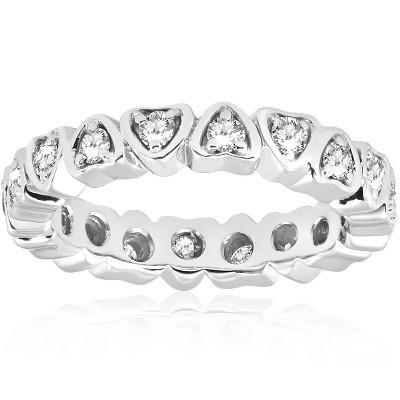 Pompeii3 1/2ct Heart Shape Diamond Eternity Ring 14K White Gold