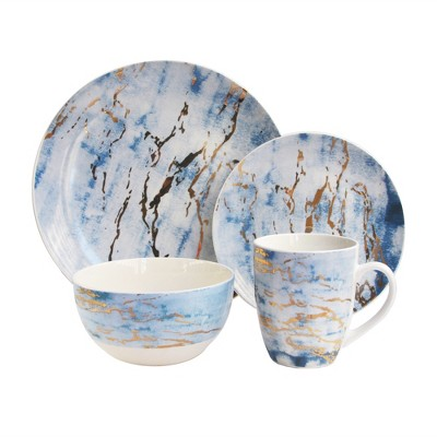 American Atelier 16pc Porcelain Marble Dinnerware Set Blue/Gold