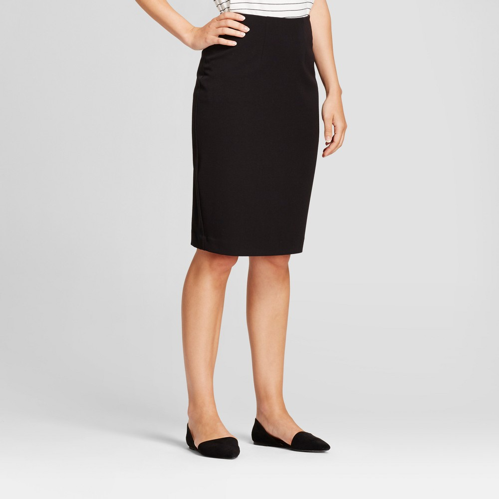 Women's Bi-Stretch Twill Pencil Skirt - A New Day Black 14