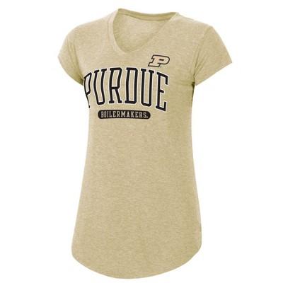 NCAA Purdue Boilermakers Women's Short Sleeve V-Neck Tan T-Shirt