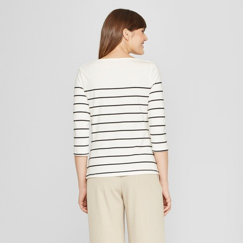 acf3b57a8fa11d Women's Striped 3/4 Sleeve Boatneck T-Shirt - A New Day™ White/Black ...