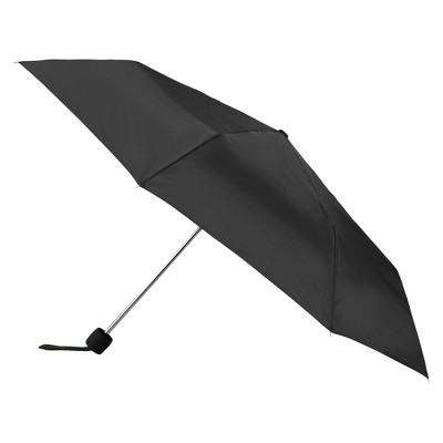 Totes Water Resistant Foldable Manual Open Compact Umbrella - Black