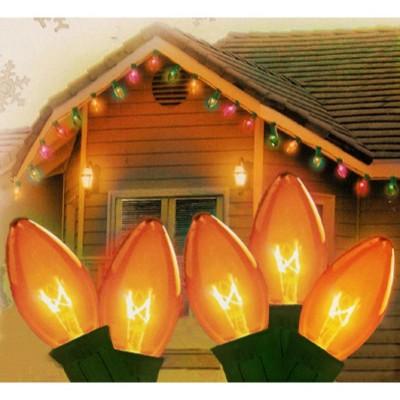 J. Hofert Co 25ct Transparent C9 Christmas String Lights Green Wire - Amber