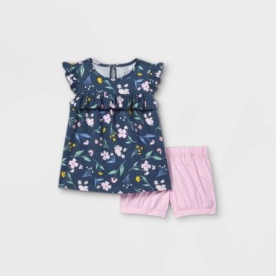 Toddler Girls' 2pc Floral Tank Top and Bottom Set - Just One You® made by carter's Navy