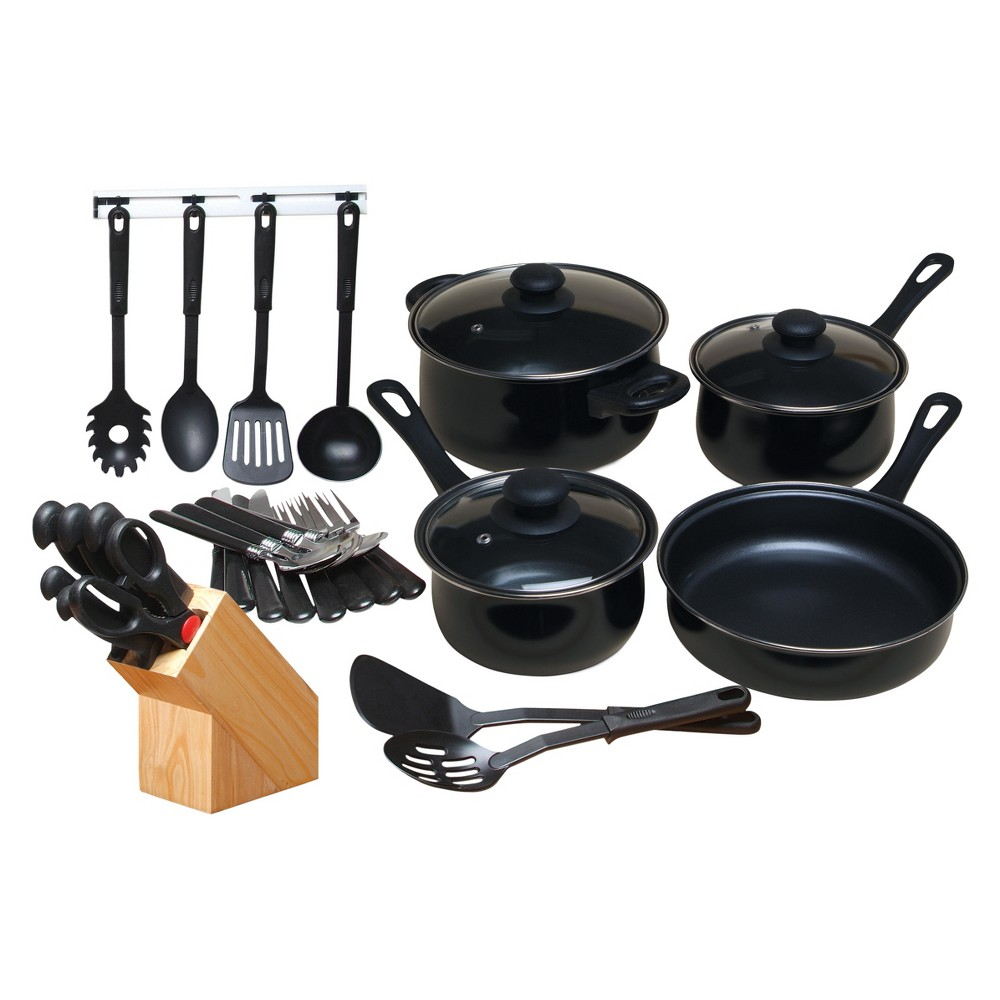 Gibson Home Kitchen 32pc Chef Du Jour cookware Set Black