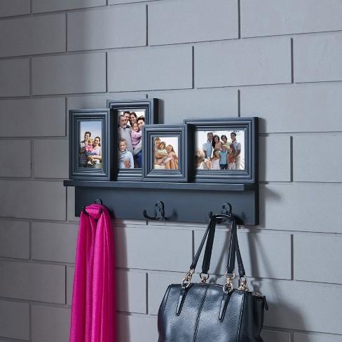 Photo Frame Wall Shelf With Hooks Black Target