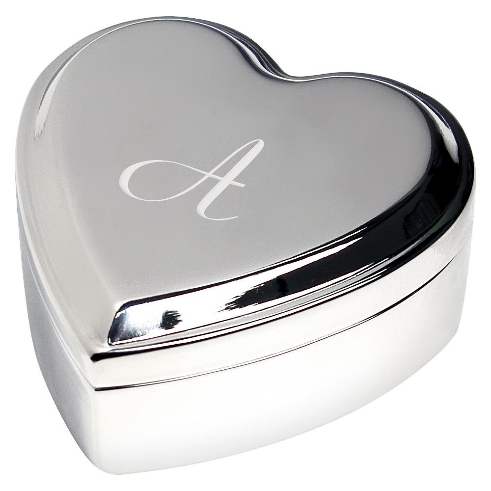 Monogram Heart Keepsake Jewelry Box - A, Silver