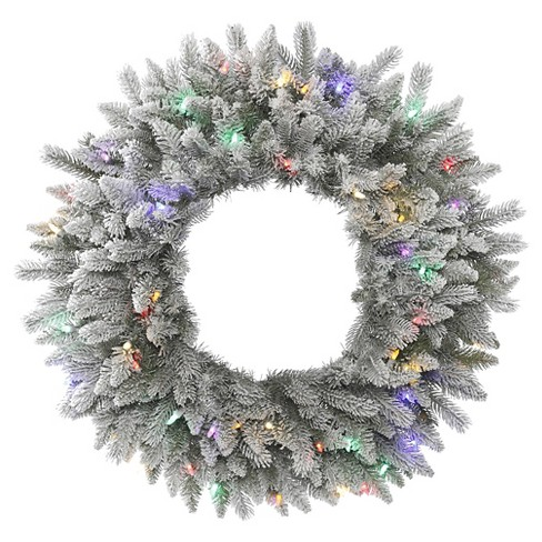 "30"" Pre-Light Christmas Sable Wreath Flocked - MultiColored LED Lights - image 1 of 1"