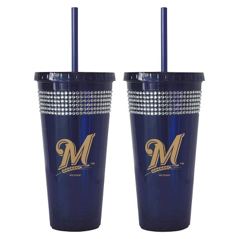 Boelter Brands MLB Milwaukee Brewers Set of 2 Bling Straw Tumbler - 22oz - image 1 of 1