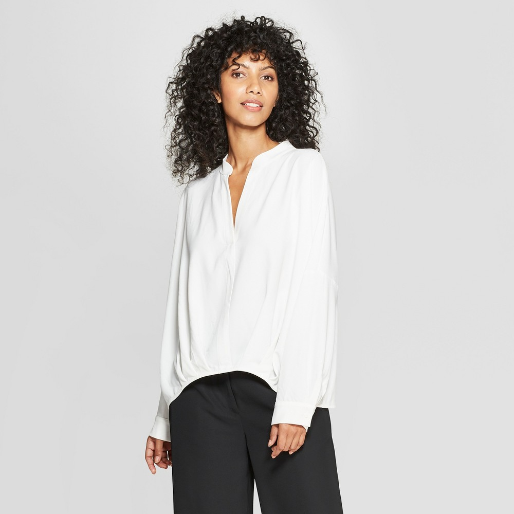 Women's Long Sleeve Tuck Detail Blouse - Prologue White XS