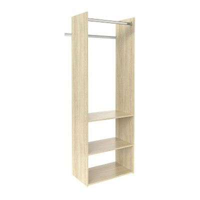Easy Track 72 Inch Vertical Hanging Tower Closet Storage Solution Organizer Accessory Kit with Clothes Rod and 2 Open Shelves, Honey Blonde