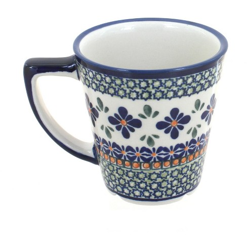 Blue Rose Polish Pottery Mosaic Flower Coffee Mug Target