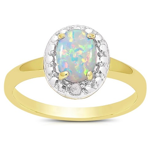 .35 Carat TW Oval-cut Opal and Diamond Accent Ring Gold Plated (IJ-I2-I3) (October) - image 1 of 1