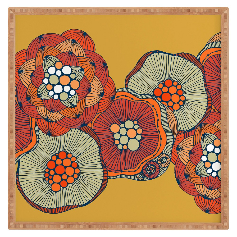 Low Price Valentina Ramos Blomma Framed Wall Art 30x30 Deny Designs Yellow Multicolored