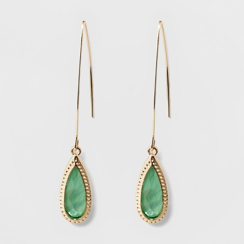 Stone Drop Hanging Earrings A New Day Green Gold