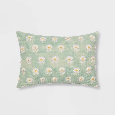 Oblong Block Print Kantha Floral Stitch Decorative Throw Pillow White/Blue - Threshold™