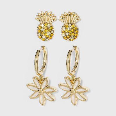 SUGARFIX by BaubleBar Pineapple and Flower Drop Earring Set - Yellow