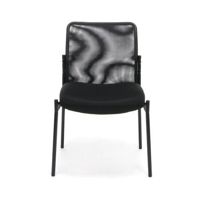 Mesh Back Upholstered Armless Side Chair Black - OFM