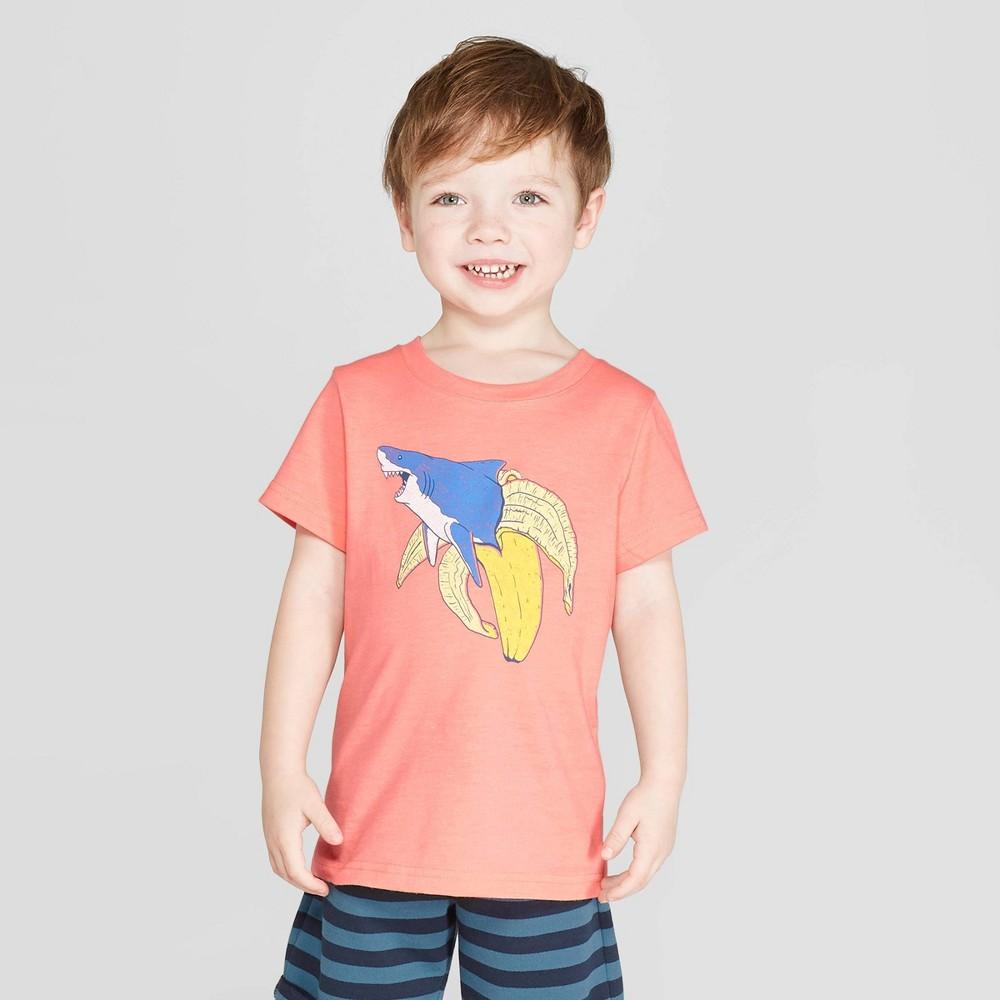 Toddler Boys' Short Sleeve Banana Shark T-Shirt - Cat & Jack Peach 12M, Pink