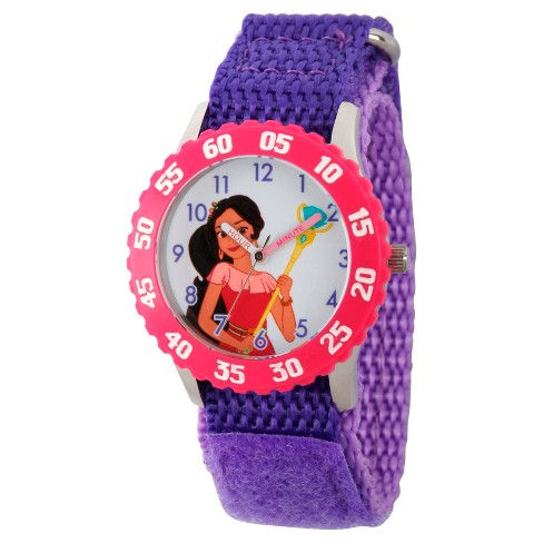 Girls' Disney Elena of Avalor Stainless Steel  Time Teacher Watch with Pink Bezel - Purple - image 1 of 2