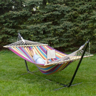 """Northlight 77"""" x 58.75"""" Striped Woven Double Hammock with Wooden Bars - Red/Green"""
