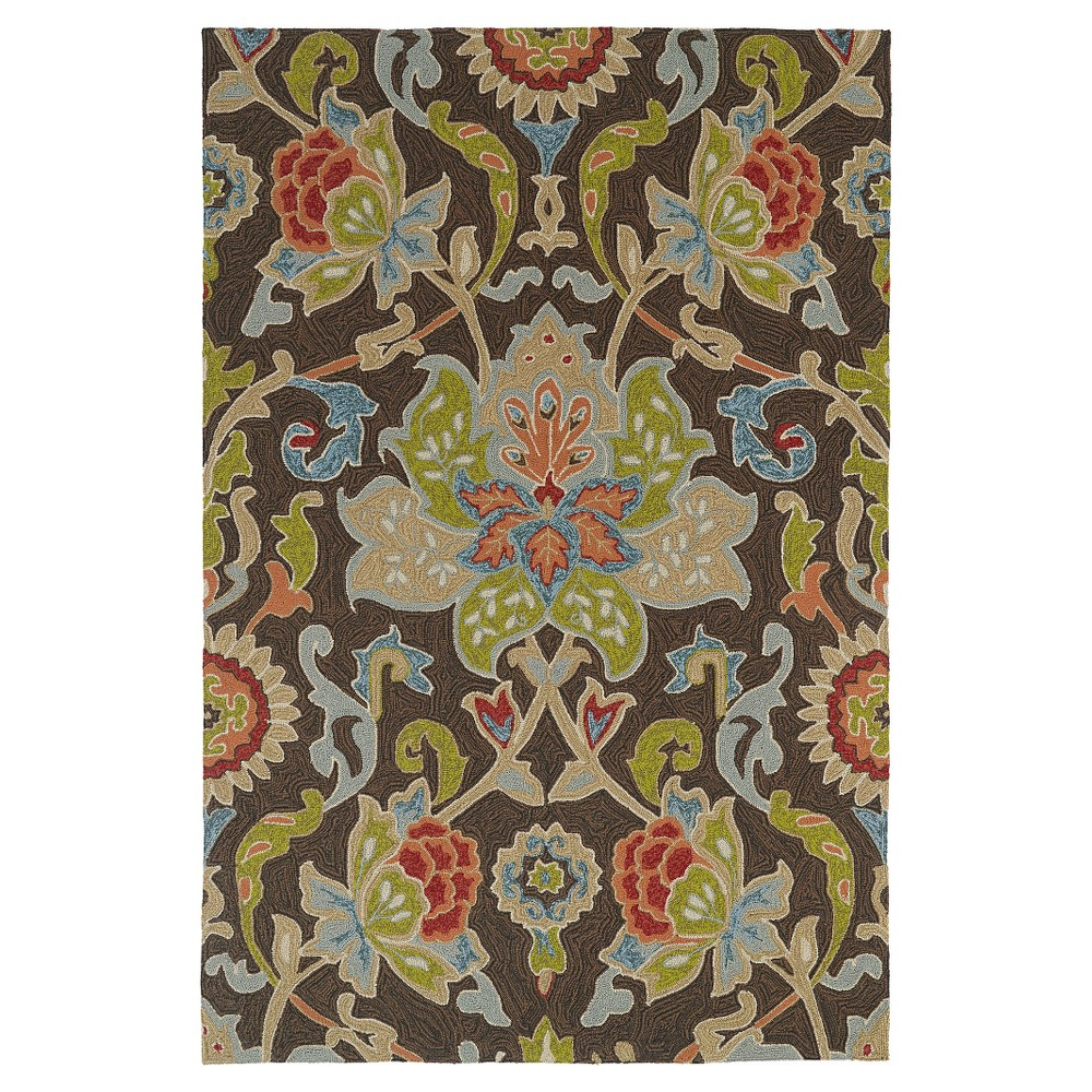 Kaleen Rugs Home and Porch Flower Indoor/Outdoor Area Rug Chocolate (Brown) 7'6x9'