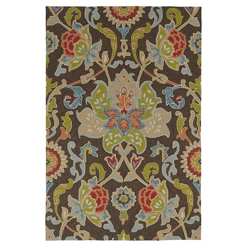 Kaleen Rugs Home and Porch Flower Indoor/Outdoor Area Rug Chocolate 2'x3' - image 1 of 3